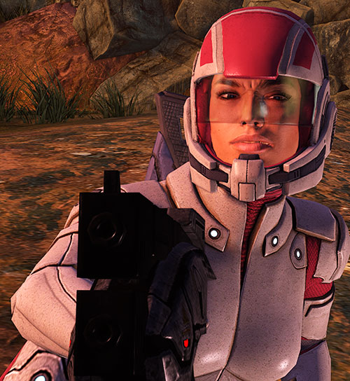 Ashley Williams in Mass Effect 1 - pointing a pistol