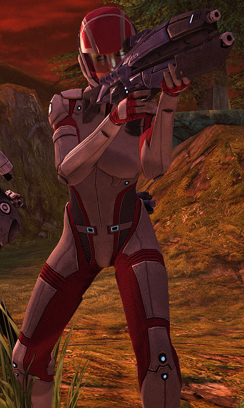 Ashley Williams in Mass Effect 1 - aiming a Lancer rifle