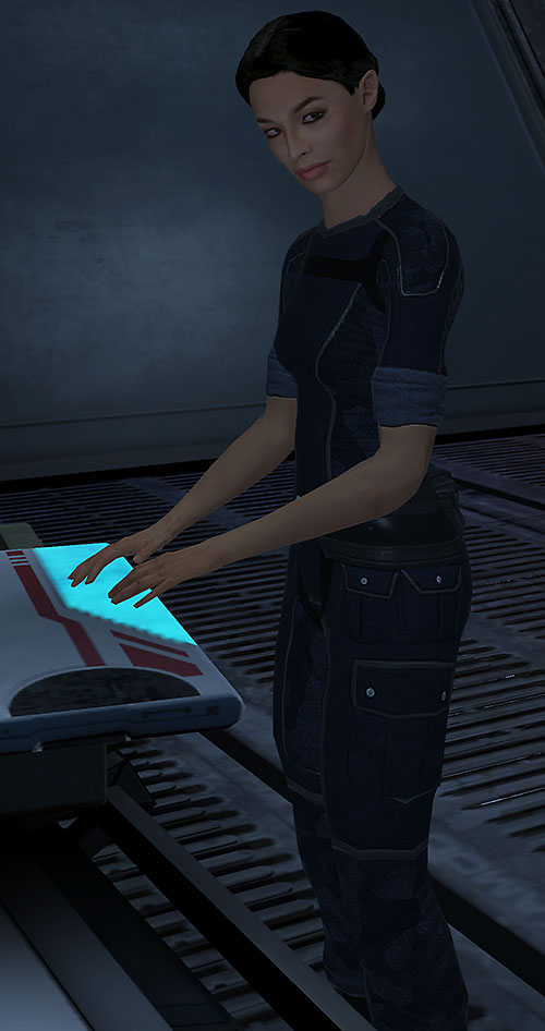 Ashley Williams in Mass Effect 1 - using a computer
