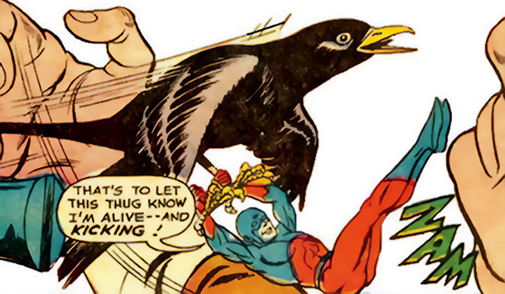 The Atom (Ray Palmer) fights, helped by a bird