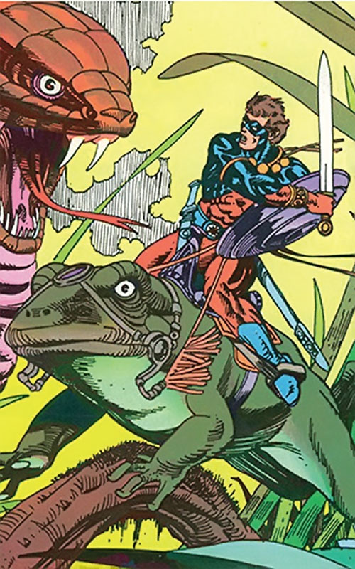 The Atom (Ray Palmer) (DC Comics) riding a frog and fighting a snake