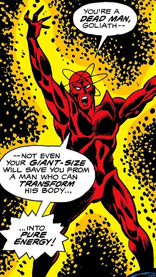 Atom-Smasher (Black Goliath & Thing enemy) (Marvel Comics) glowing in the dark
