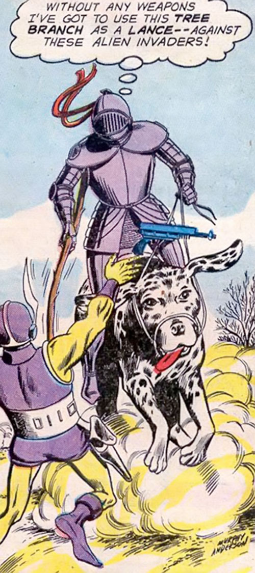 Atomic Knight (DC Comics) on a giant Dalmatian lancing at an alien