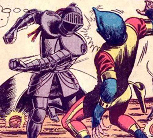 Atomic Knight (DC Comics) punching an alien