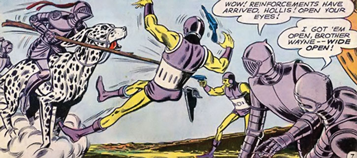 The Atomic Knights charge aliens on their giant dalmatians