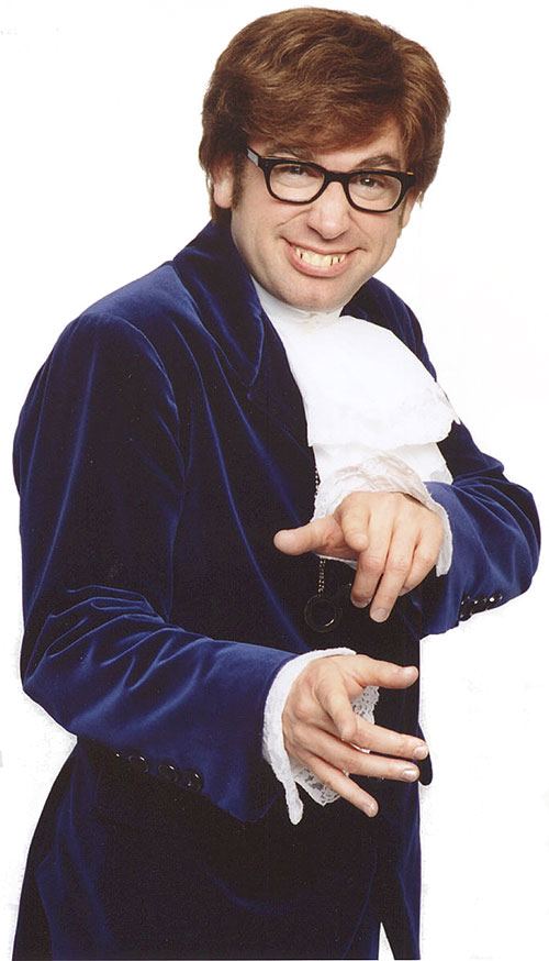Austin Powers (Mike Myers) in a deep purple suit