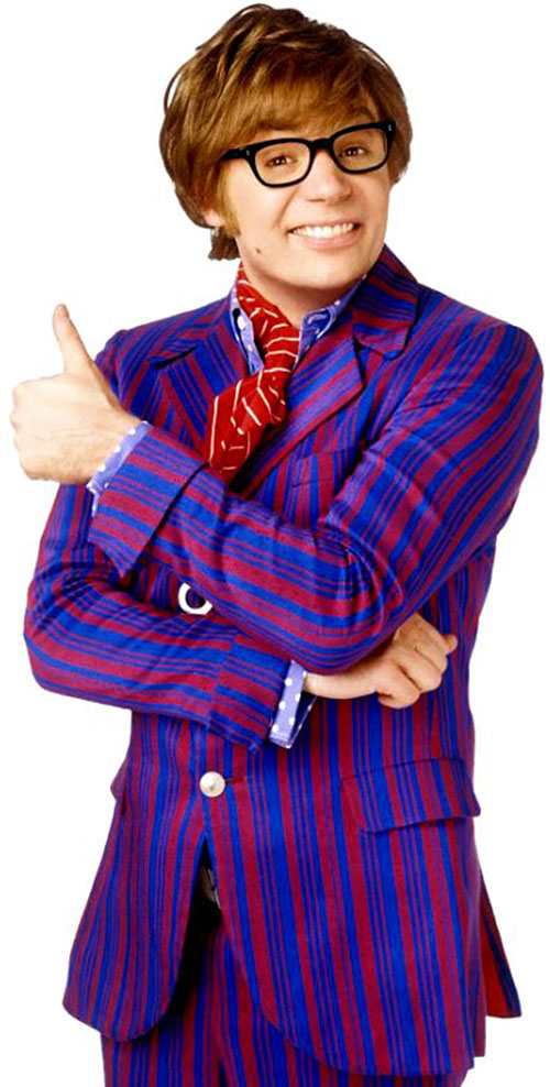 Austin Powers (Mike Myers) in a striped suit