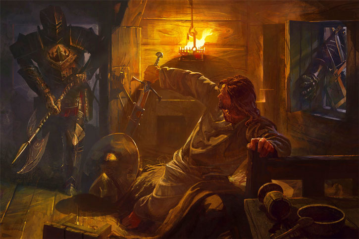 Avernum: Escape from the pit - guards arresting a man sleeping in a tavern