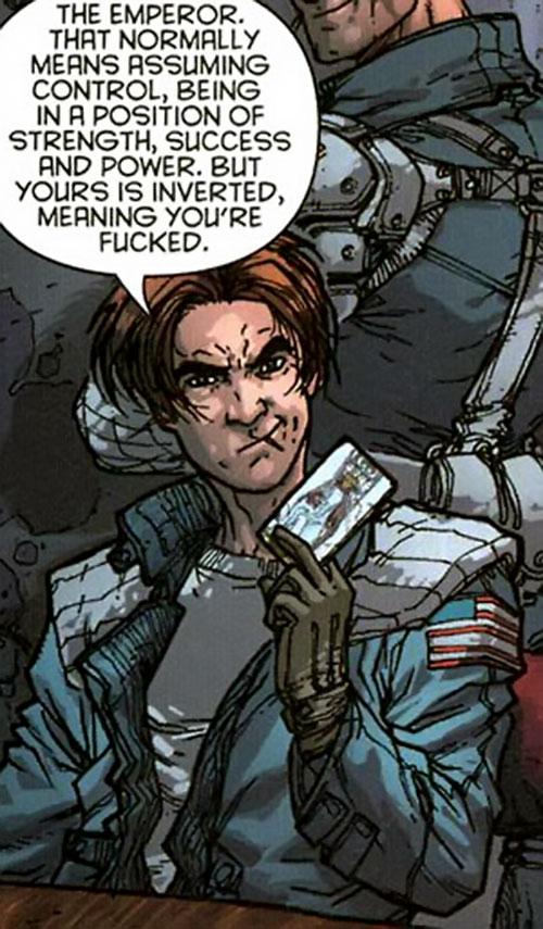 Avi Barak of StormWatch Team Achilles (Wildstorm Comics) with a tarot card