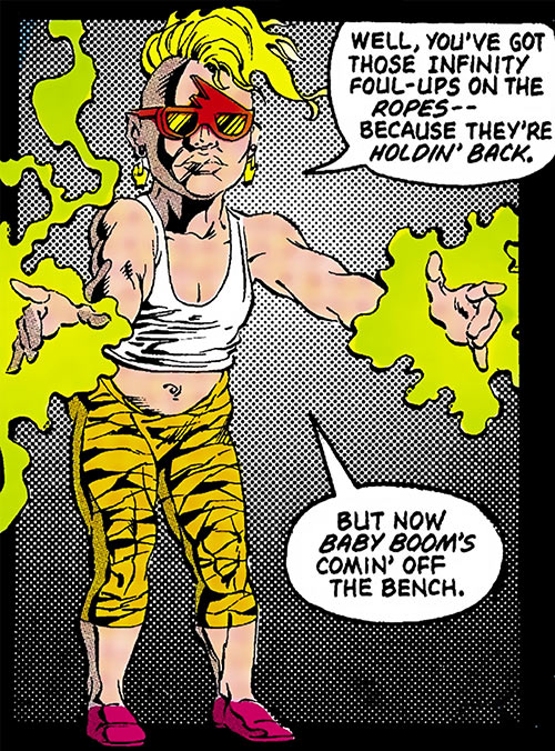 Babe of Helix (Infinity, Inc. enemy) (DC Comics) with even stupider clothes