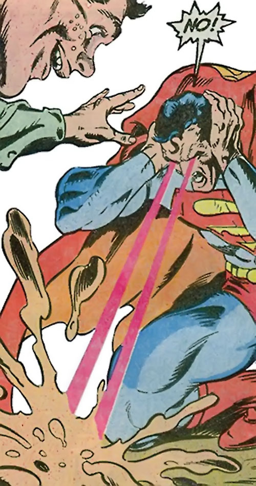 Badb of the Jihad (Suicide Squad enemy) (DC Comics) forcing Superman to use his heat vision