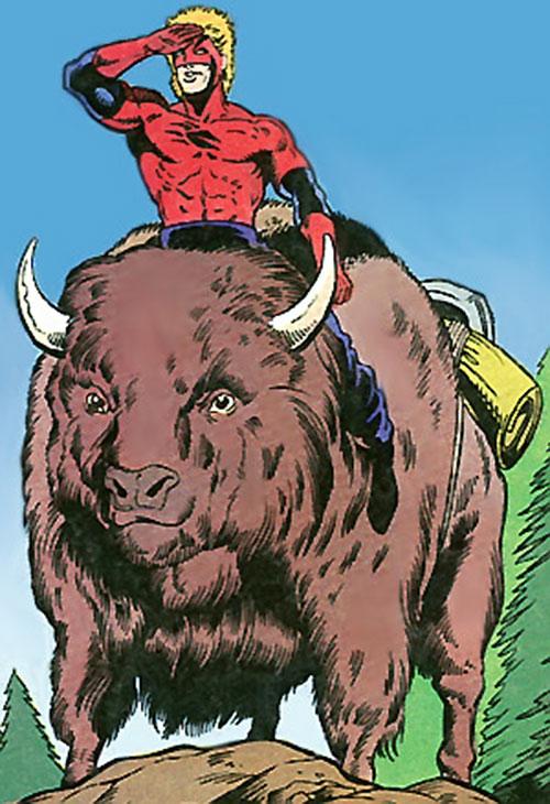 Badger (First Comics) riding a buffalo