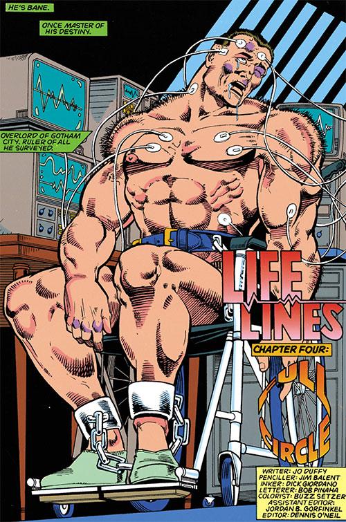Bane (DC Comics) demolished in a wheelchair