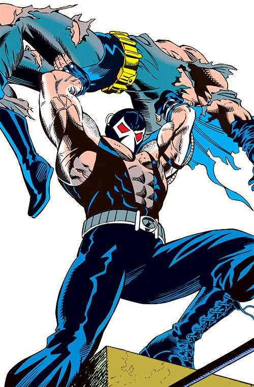 Bane (DC Comics) vanquishes Batman