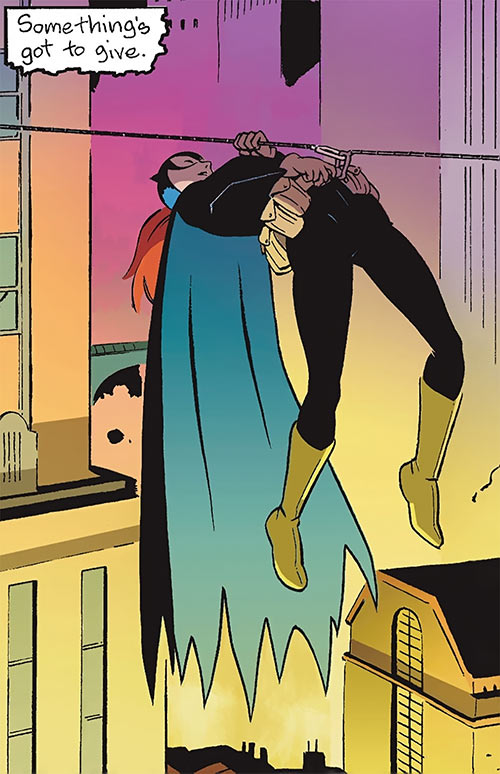 Batgirl (Barbara Gordon) (2003 Year One) hanging from a rope