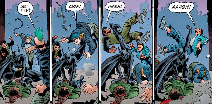 Batgirl (Cassandra Cain) disperses a street gang