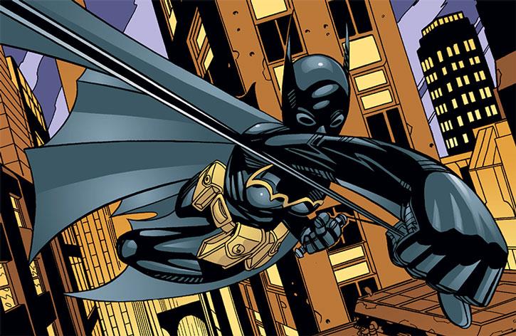 Batgirl (Cassandra Cain) above Gotham City