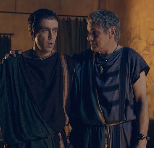 Batiatus (John Hannah in Spartacus) with his father Titus