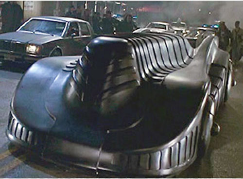 The Batmobile in the 1989 Batman movie (front view, armored mode)