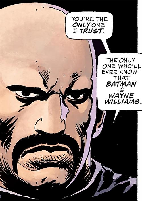 Batman (Imagine Stan Lee version) unmasked face closeup