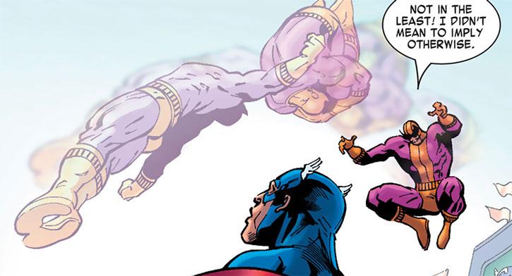 Batroc vaults over Captain America