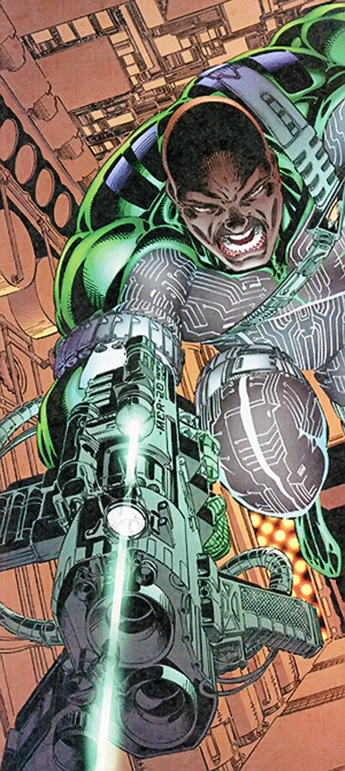 Battalion (Image Comics) with the green suit and a very intricate gun