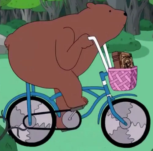 Bear (Adventure Time) riding a bicycle