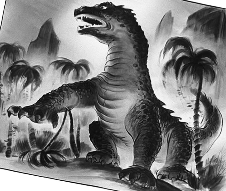 A drawing of the Beast among tropical trees