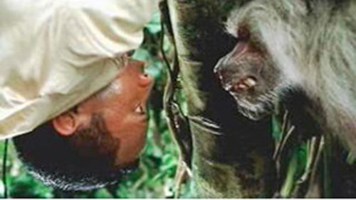 Beck (The Rock in The Rundown) facing a monkey upside down