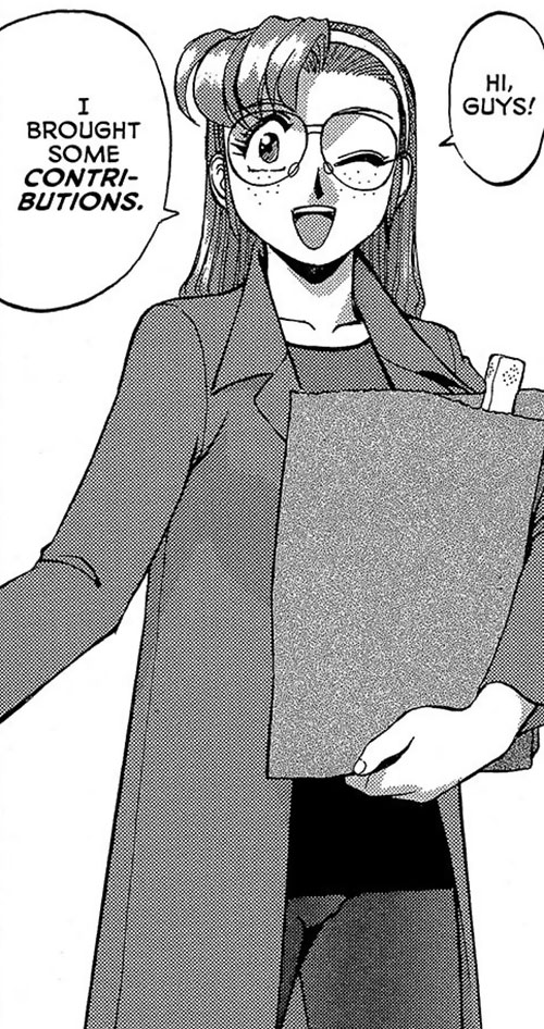 Becky the Nose (Gunsmith Cats manga) winking with groceries