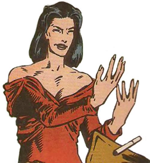Benazir Kaur (Hellfire Club White Queen) (X-Men enemy) (Marvel Comics) raising her hands