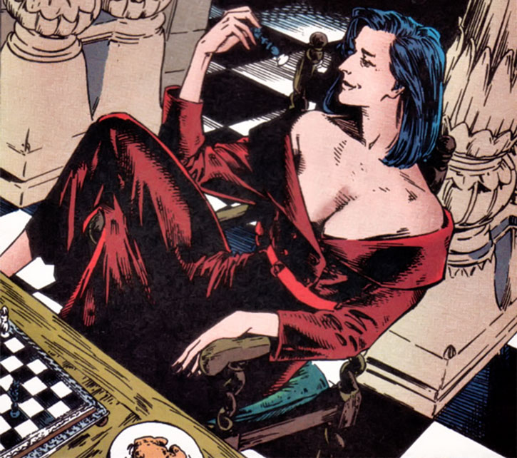 Benazir Kaur (Hellfire Club White Queen) (X-Men enemy) (Marvel Comics) playing chess in a red dress