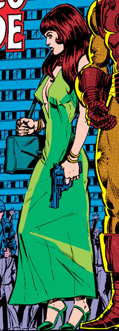 Bethany Cabe (Marvel Comics) with a cocktail dress and a magnum