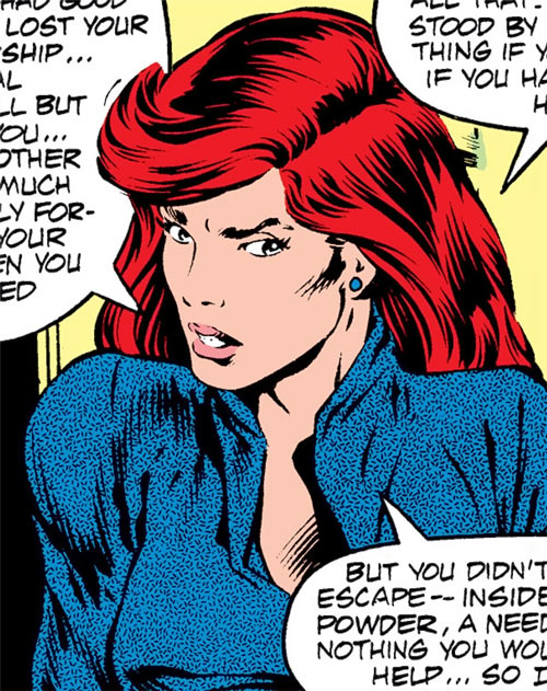 Bethany Cabe (Marvel Comics) in a blue blouse