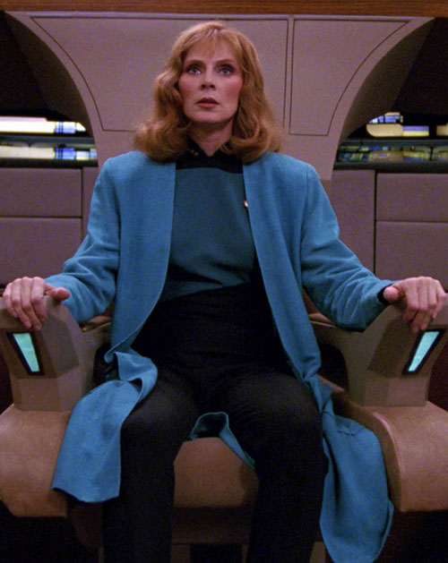 Beverly Crusher (Star Trek TNG) with a blue overcoat