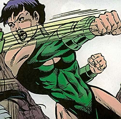 Bia (Sovereign 7 enemy) (DC Comics) throwing a punch