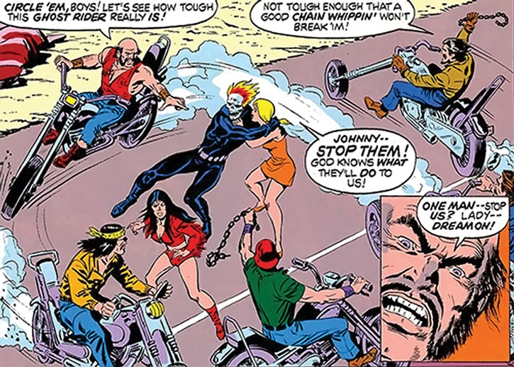 Big Daddy Dawson, his club, the Ghost Rider, Roxanne and the Witch Woman