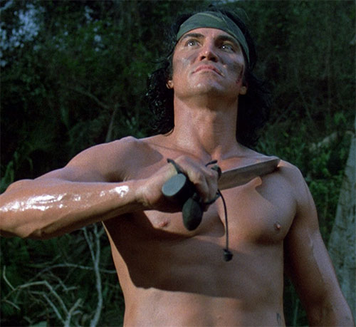 Billy Sole (Sonny Landham in Predator) bare-chested with his knife