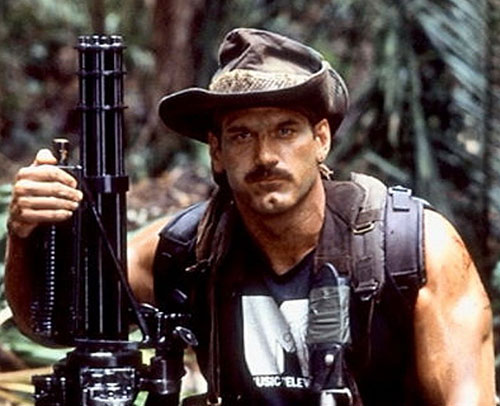 Blaine (Jesse Ventura in Predator) with his minigun