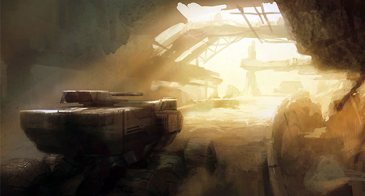 Concept art of the ruins of Tuchanka