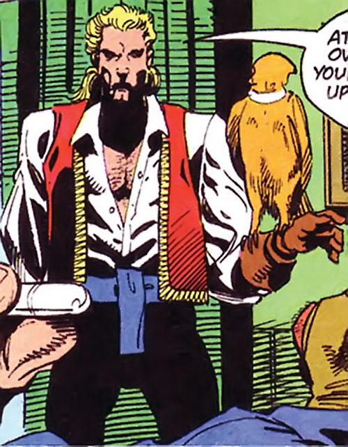 Bird (Bane / Batman character) (DC Comics) with a hooded raptor