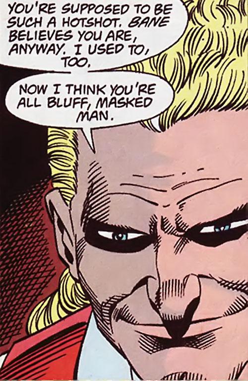 Bird (Bane / Batman character) (DC Comics) face closeup