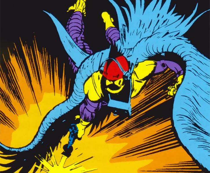 Bird-Man of the Ani-Men (Marvel Comics) using his blaster