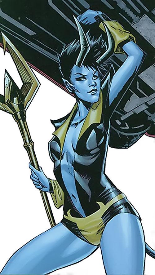 Black Alice (Birds of Prey) (DC Comics) using Blue Devil's power