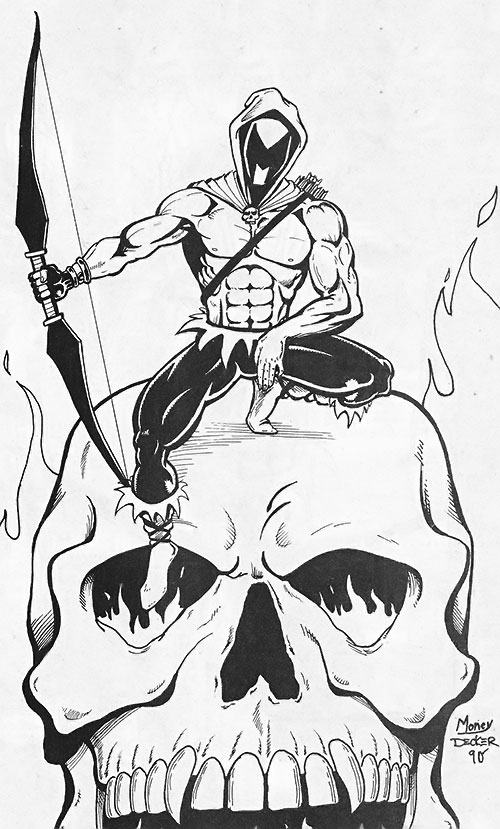 Black Bow (Artline Studio indie comics) and a giant burning skull