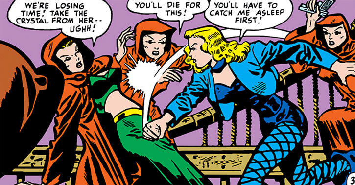 Black Canary (DC Comics) (Golden Age) fighting female cultists