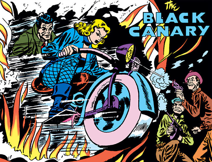Black Canary (DC Comics) (Golden Age) on a motorcycle