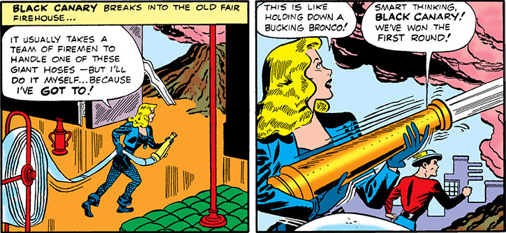 Black Canary (DC Comics) (Golden Age) with a firehose