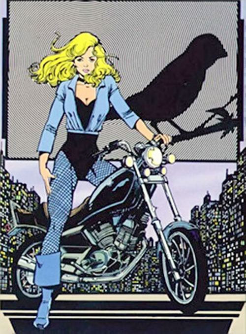 Black Canary (DC Comics) with a motorbike splash page