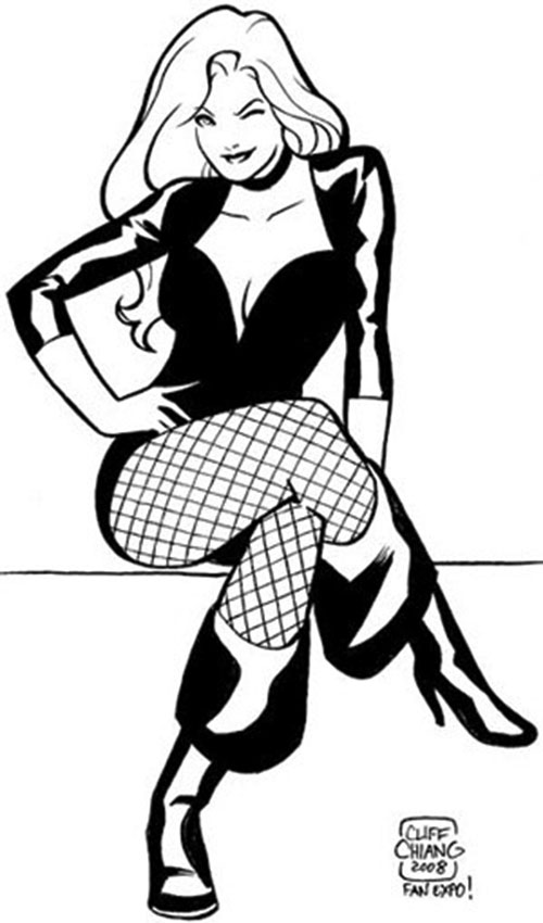 Black Canary (DC Comics) sitting and winking sketch by Chiang